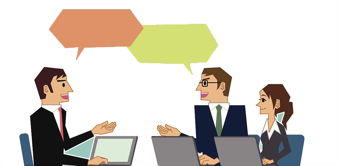 Conversation clipart collaborative conversation. Business discusixf n clip