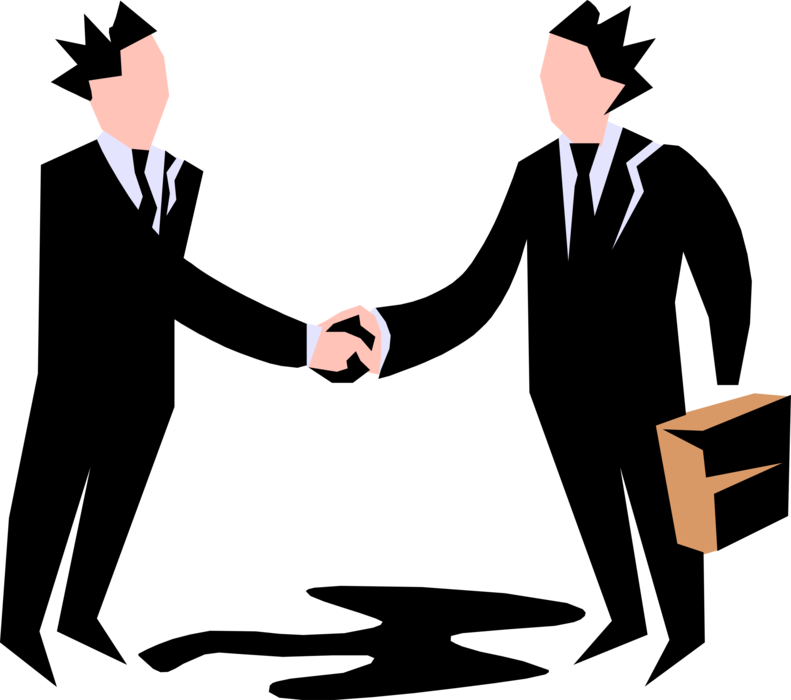 Entrepreneur shakes hands with. Handshake clipart executive agreement