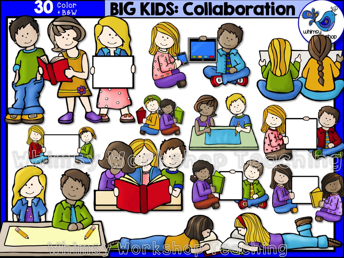 Big kids collaborating clip. Collaboration clipart kid