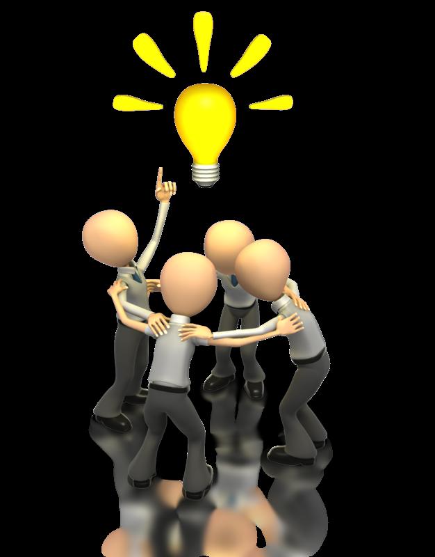 Brainstorming leadership business idea. Teamwork clipart presenter media