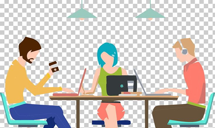 Microsoft graphics coworking illustration. Collaboration clipart office