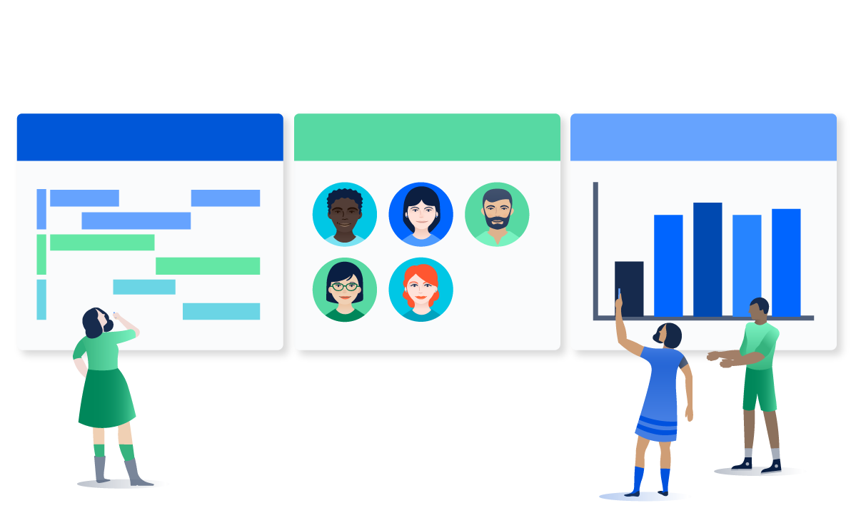 Atlassian confluence work in. Collaboration clipart project overview