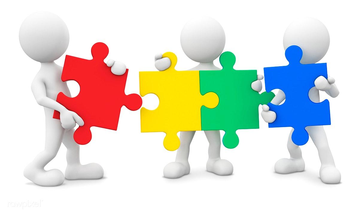 Collaboration clipart puzzle piece person. Download premium image of