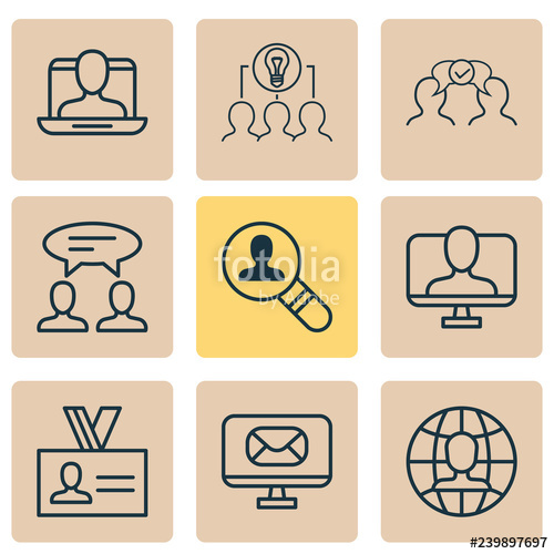 Collaboration clipart social isolation. Business icons set with