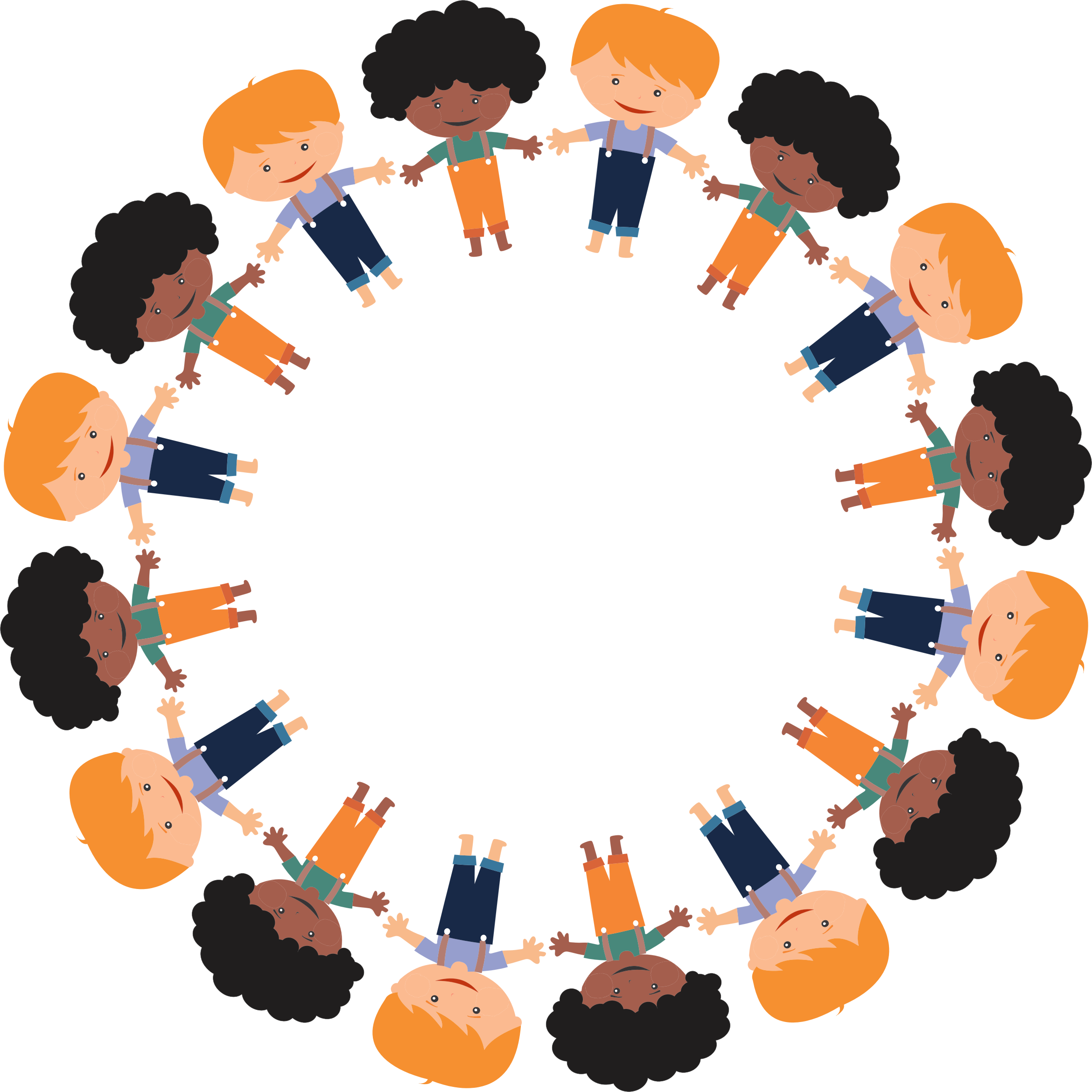 Cartoon boys circle large. Group clipart togetherness