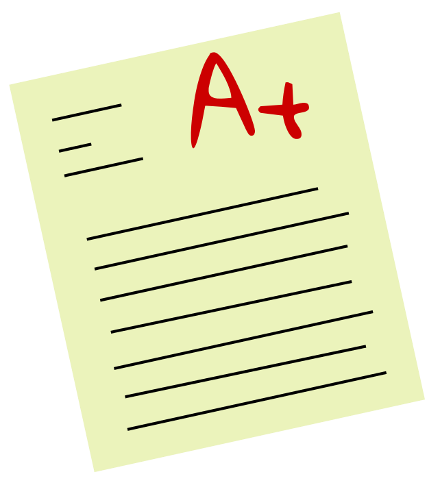 With a grade clip. Proud clipart exam marks