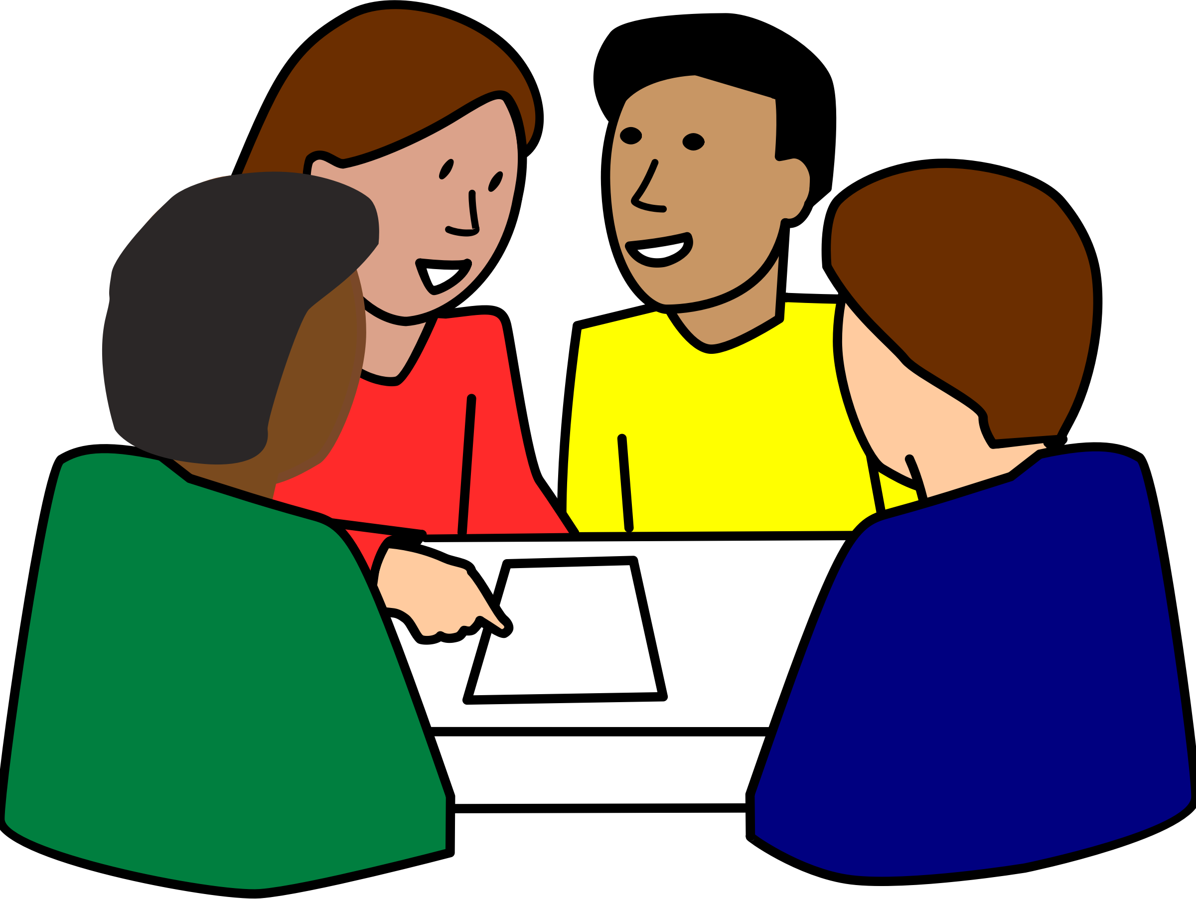Discussion clipart student organization. Diverse group work by
