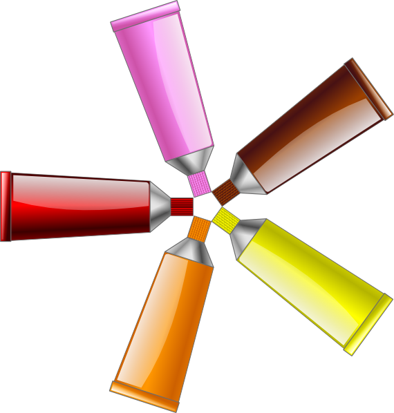 Color tube red yellow. Colors clipart brown