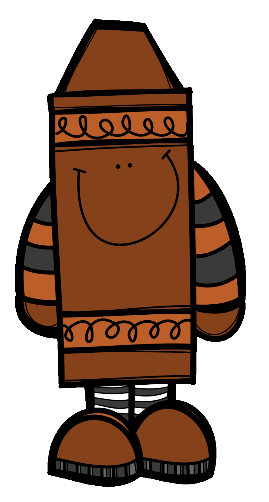 Brown pencil and in. Crayons clipart colouring crayon