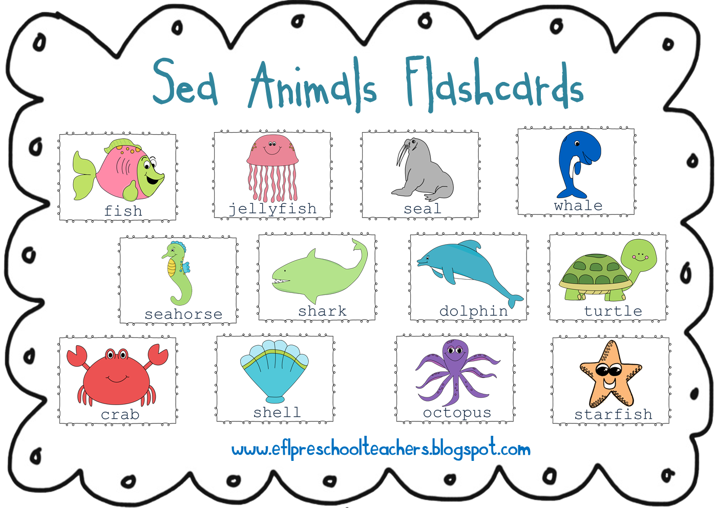 Shell clipart sea animal. Esl efl preschool teachers