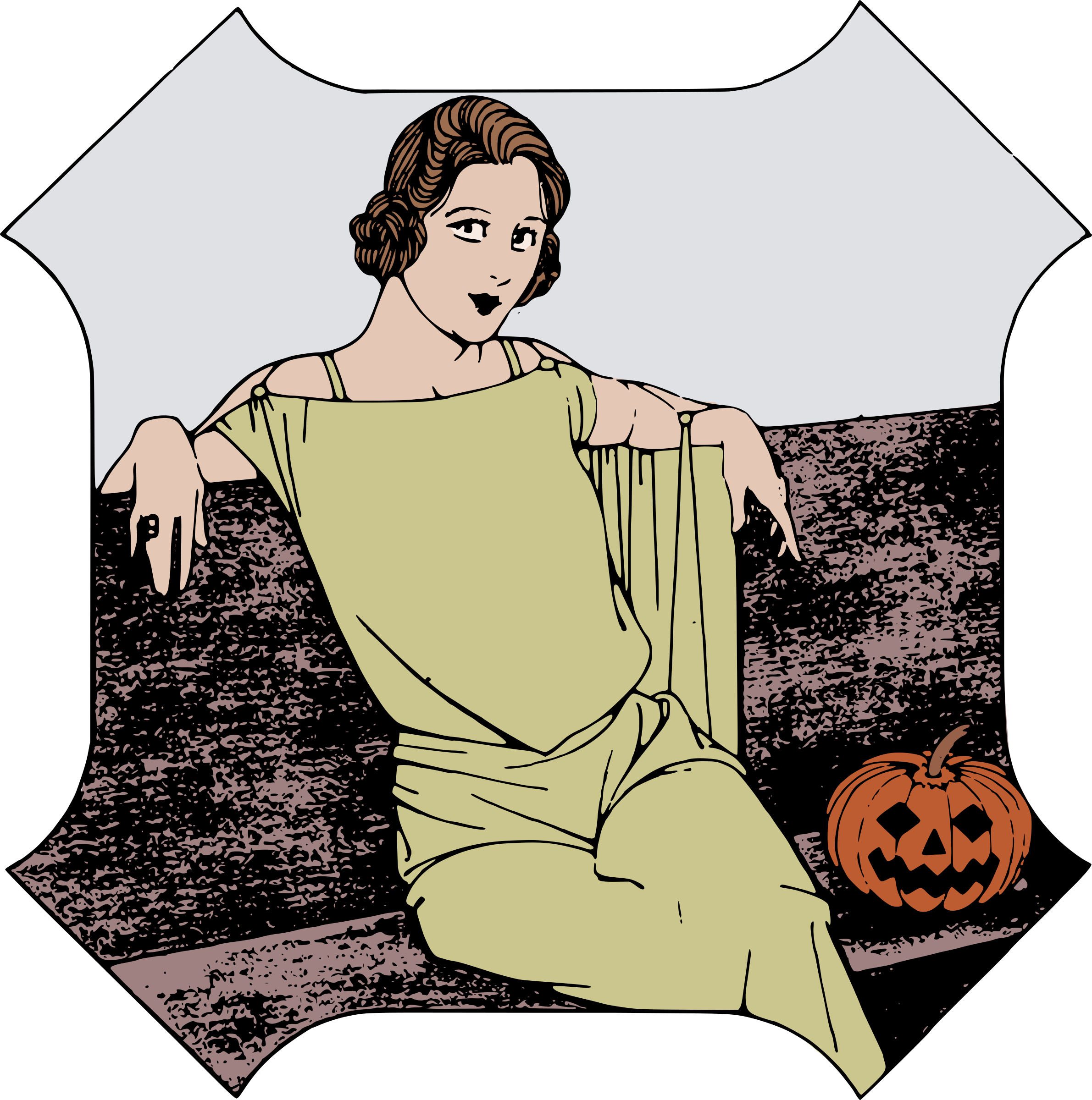 Lady colour big image. Color clipart halloween