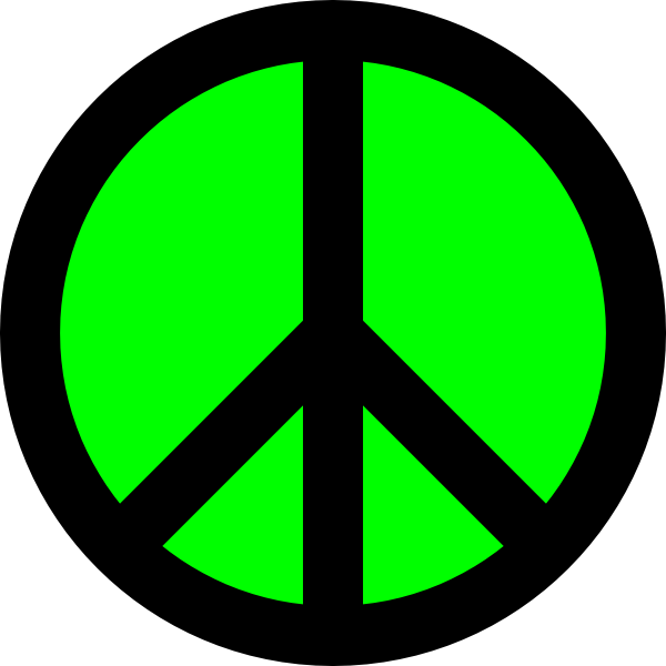 Neon green black peace. Hippie clipart heart