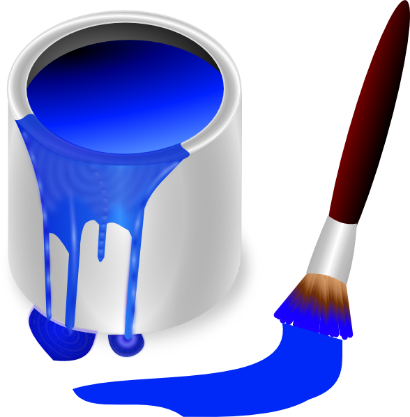 Blue paint brush and. Paintbrush clipart 3 pencil