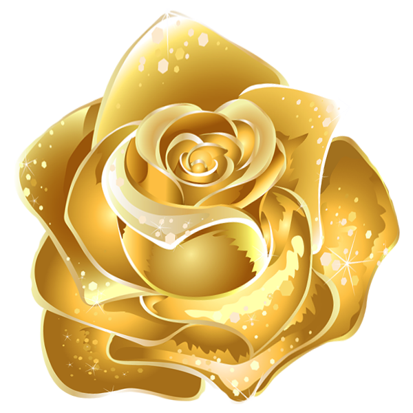 Gold flower png. Rose decor clipart color