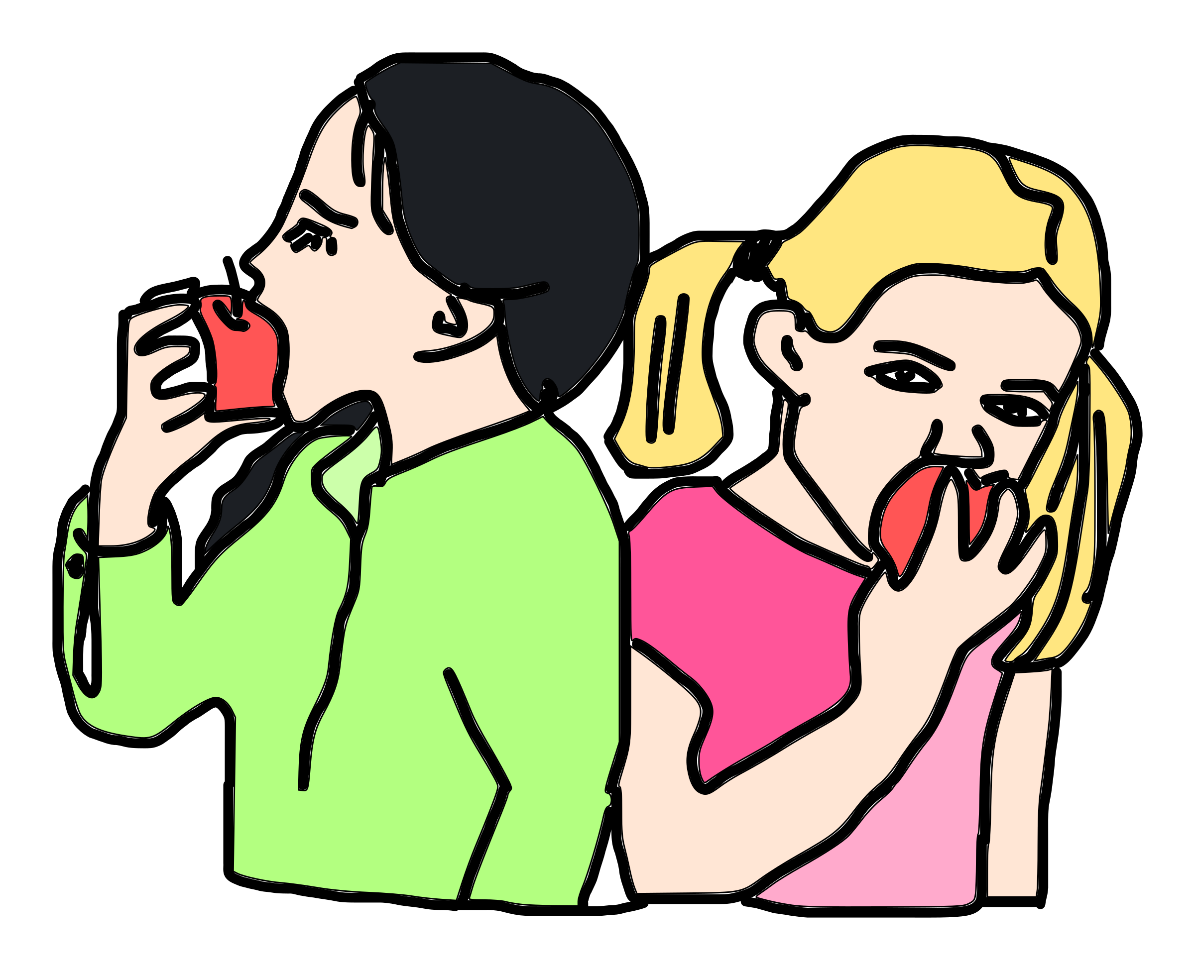 Conversation clipart in depth. Of eating an apple