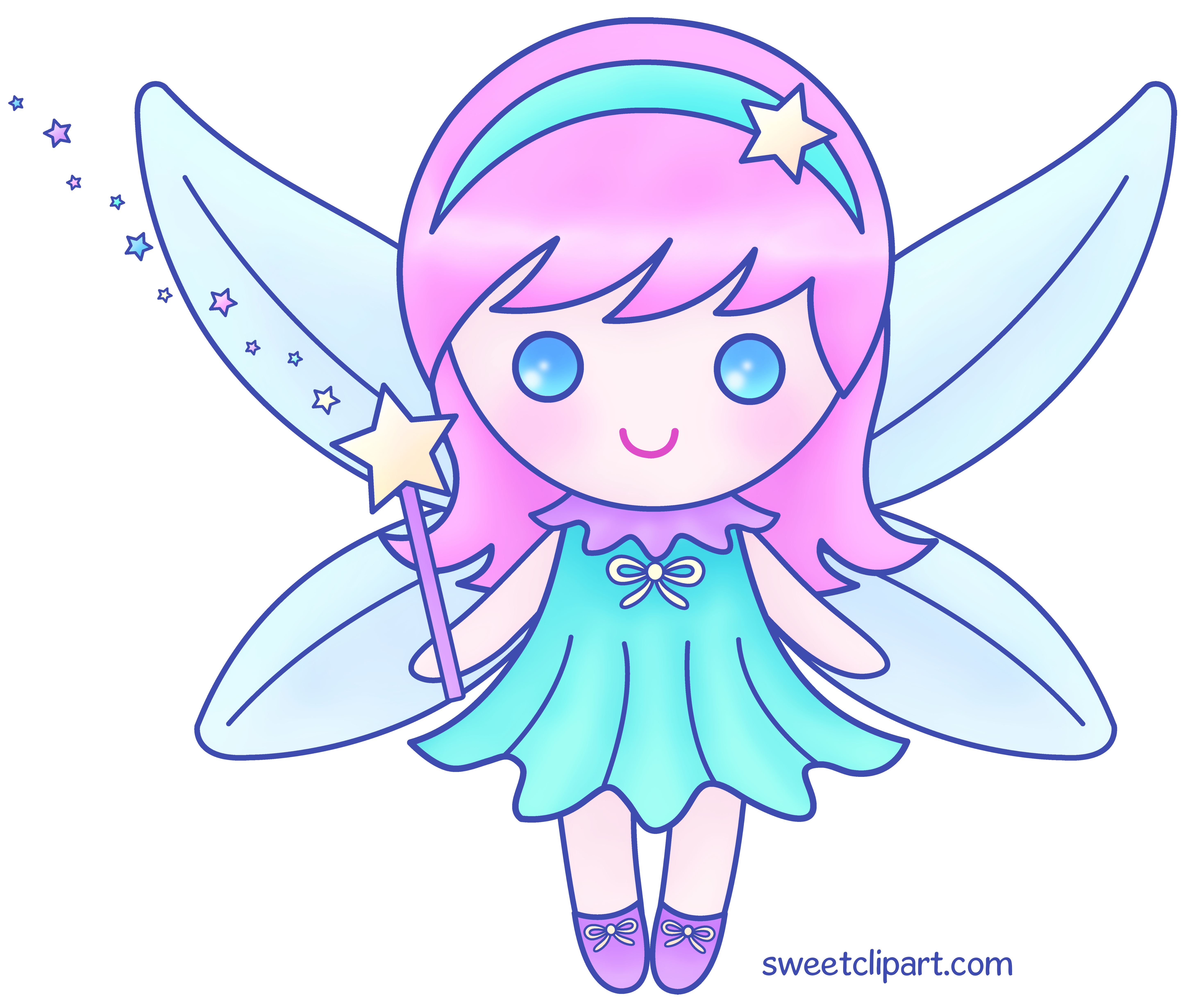 Pink fairy color clip. Wing clipart cute