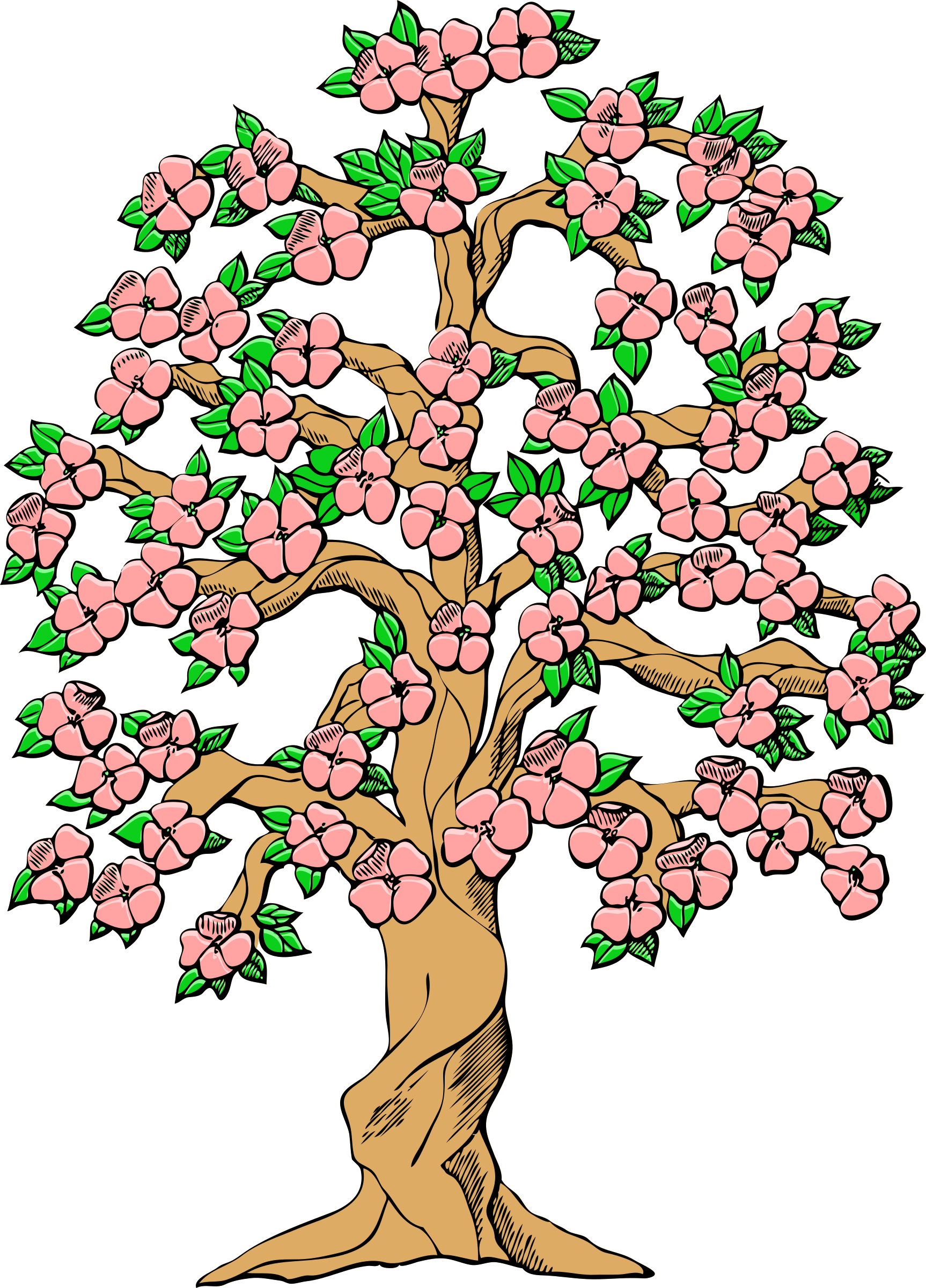 Flowering color big image. Girly clipart tree