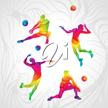 Vector players set people. Color clipart volleyball player