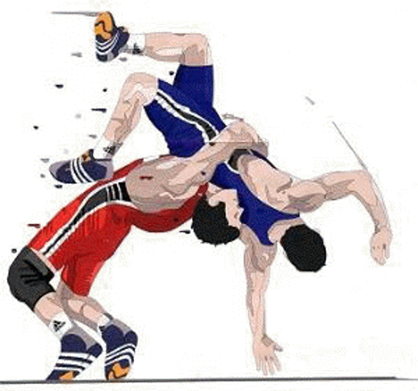 In color . Wrestlers clipart wrestling match