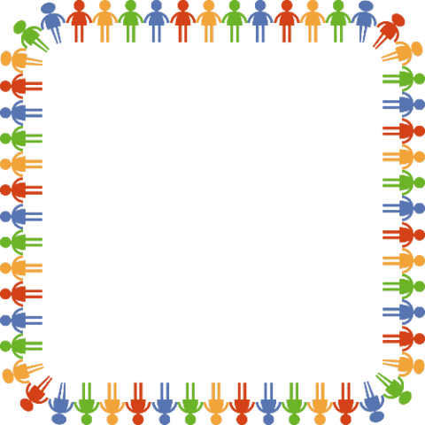 With people in community. Colorful border png