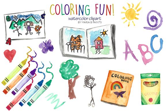 Clip art fans. Coloring clipart