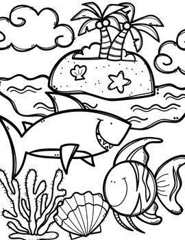 Free ocean animals book. Coloring clipart