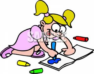 Little girl . Coloring clipart