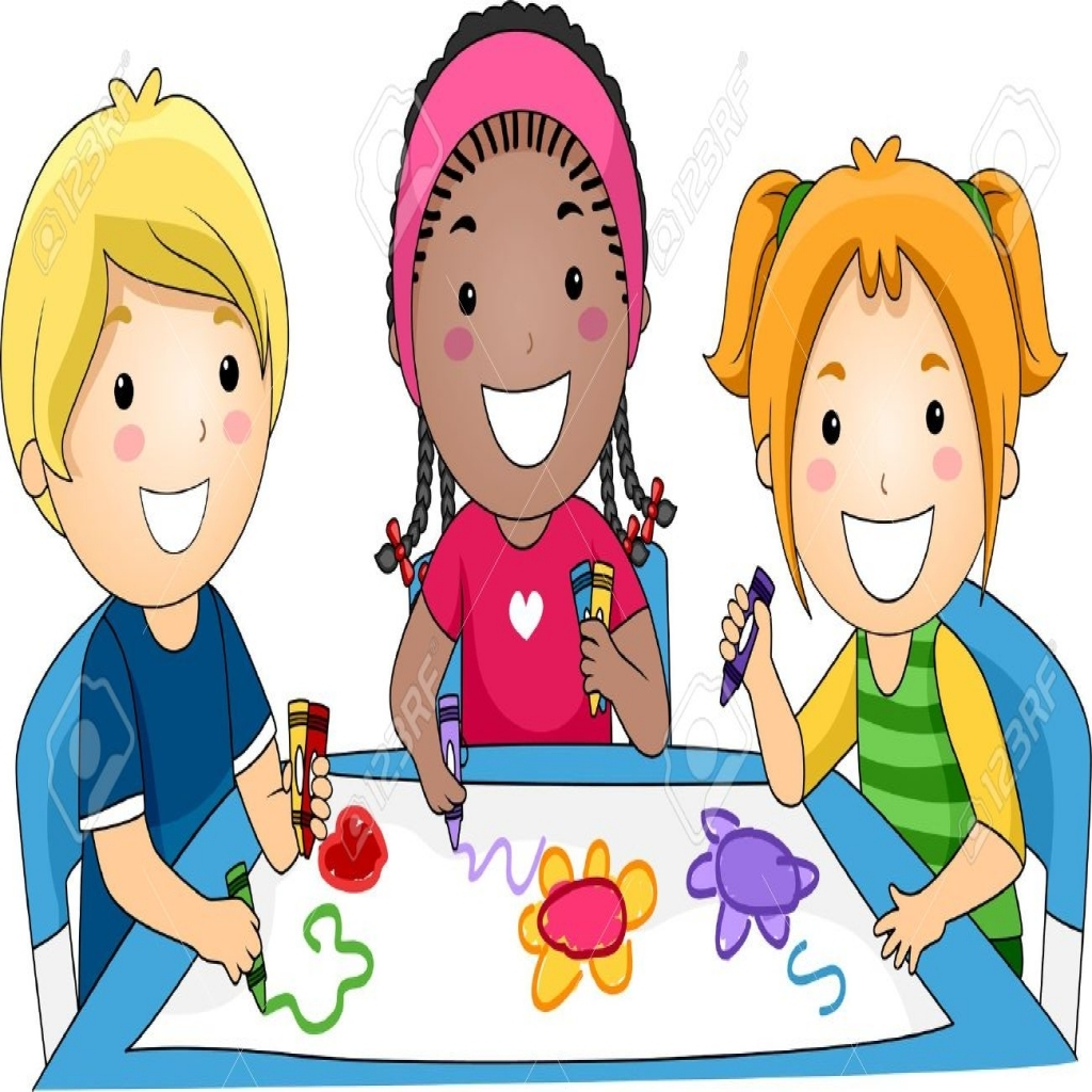 Illustration of kids drawing. Coloring clipart