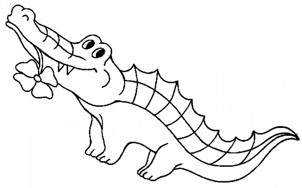 Crocodile clipart coloring. Free printable pages for