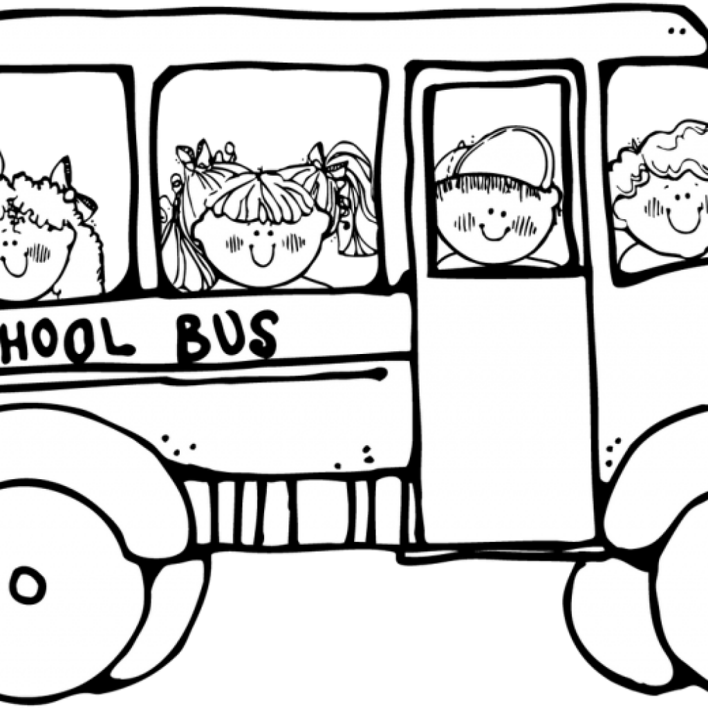 Coloring clipart bus. School black and white