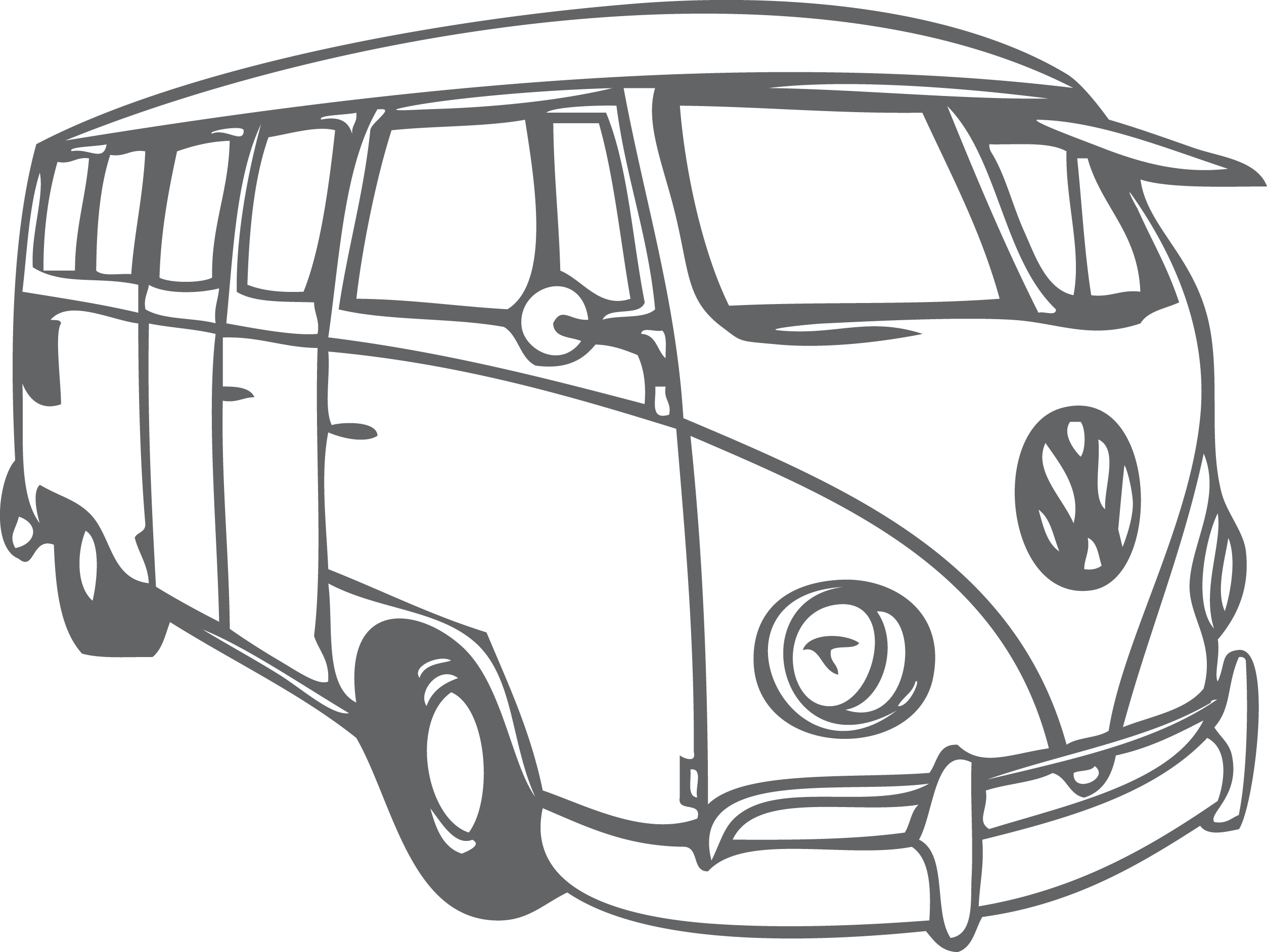Coloring clipart bus. Volkswagen beetle type van