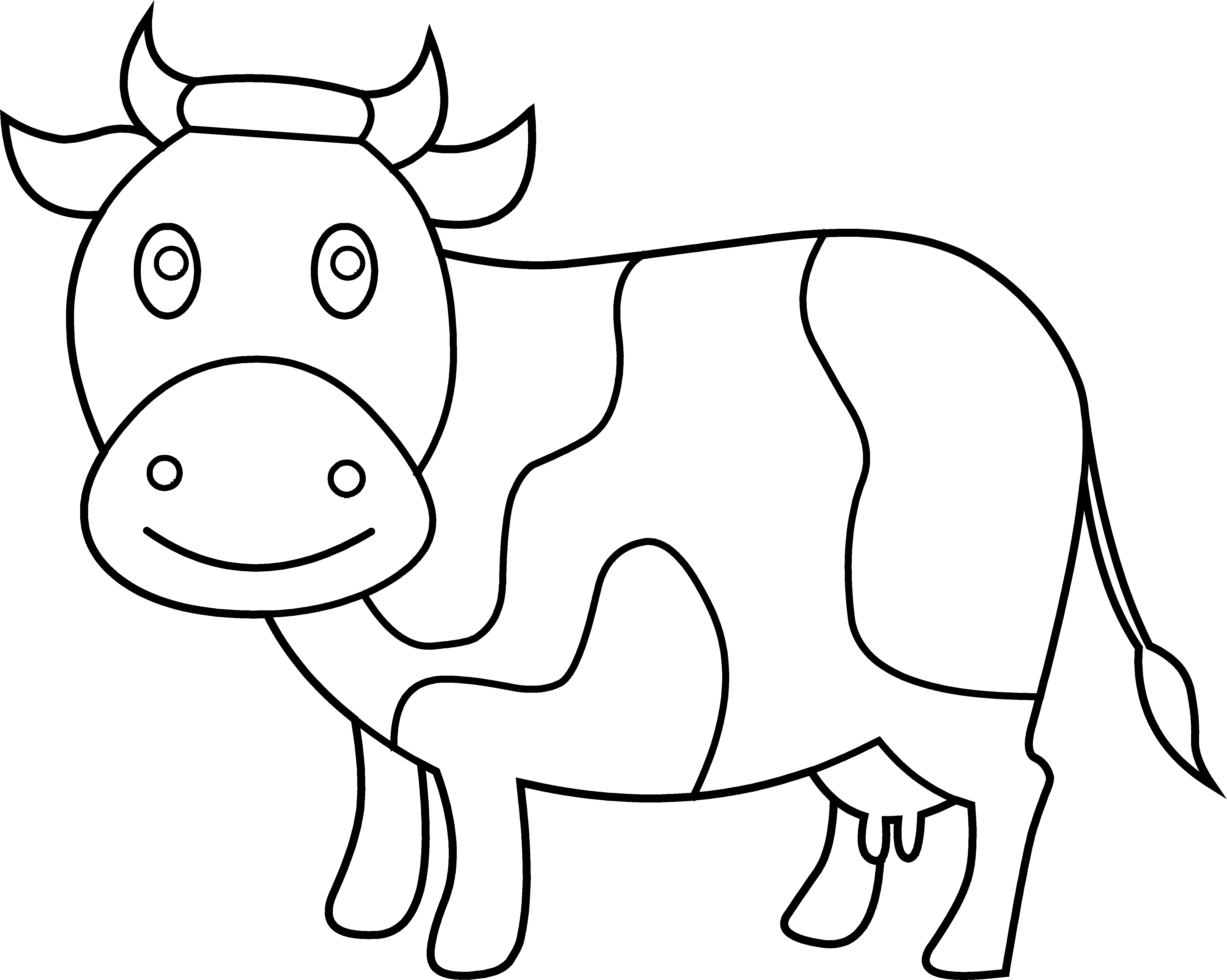Coloring page free clip. Cow clipart cute