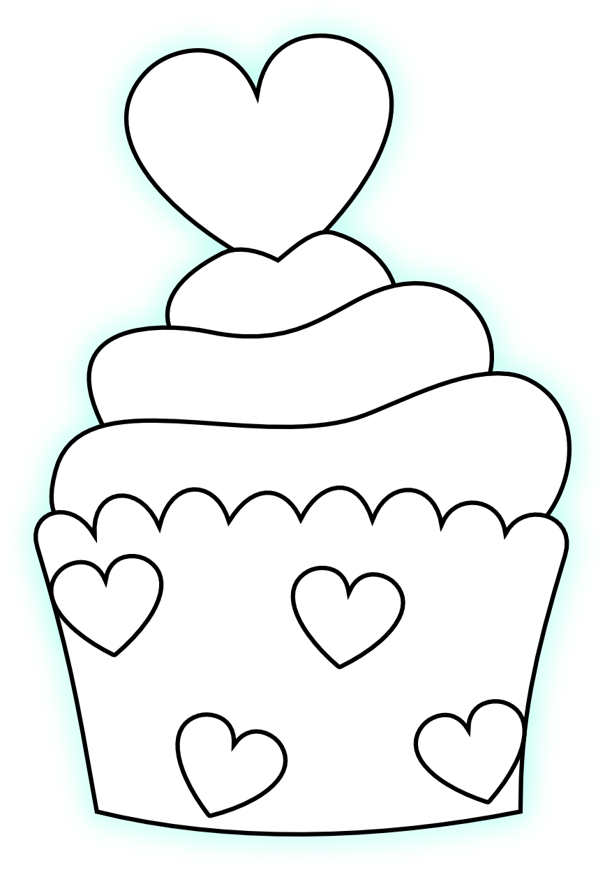Wallet clipart coloring. Heart cupcake templates pinterest