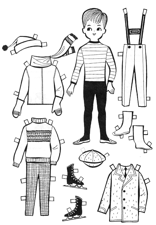 Coloring clipart doll. Paper body template datariouruguay