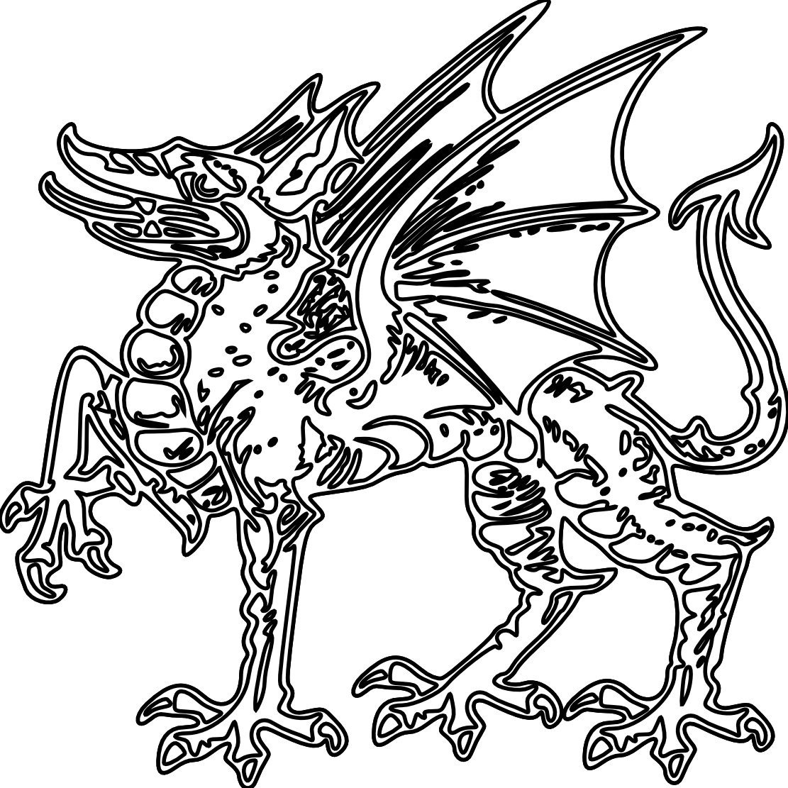 Dragon clipart color. Chinese black and white