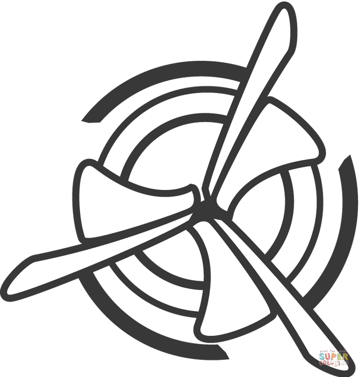 Coloring clipart fan. And air flow page