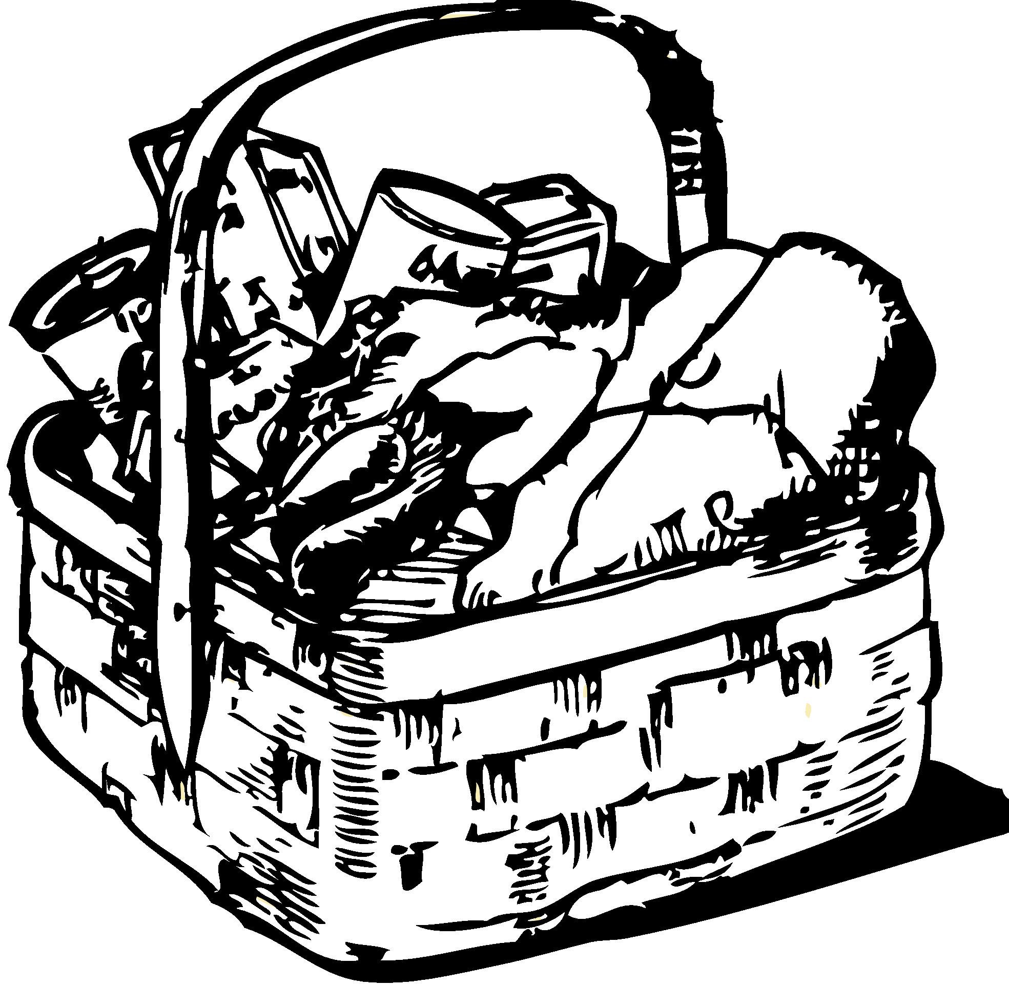 Raffle clipart hampers. Picnic basket black and