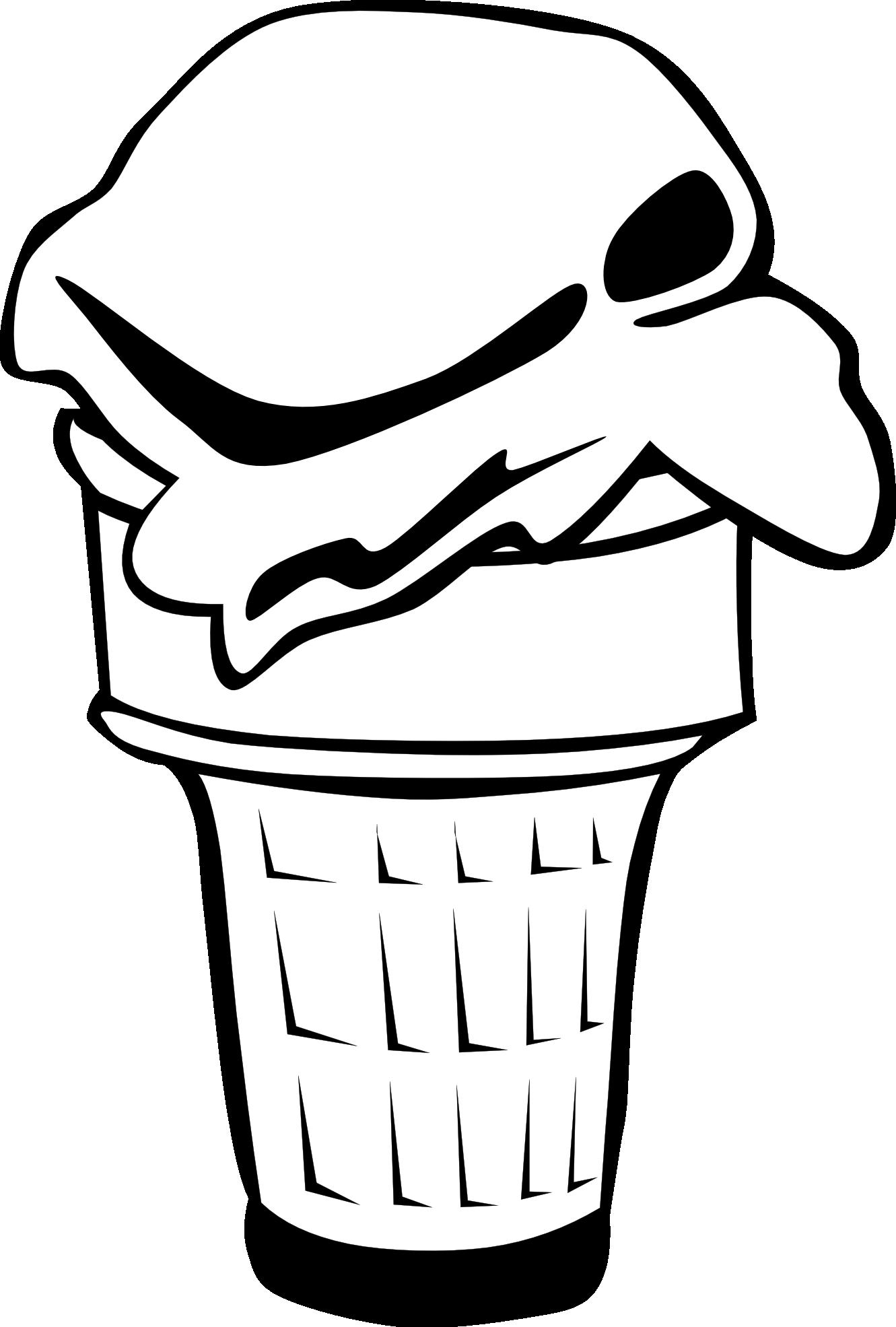 Ice clipart black and white. Cream cone panda free