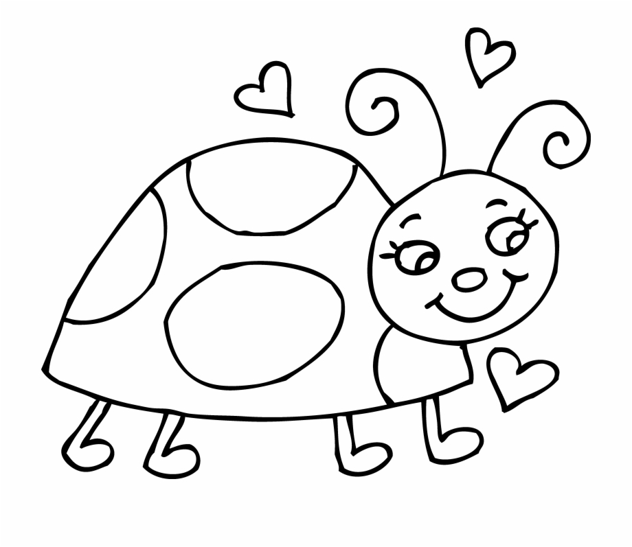 Black and white free. Ladybug clipart drawing