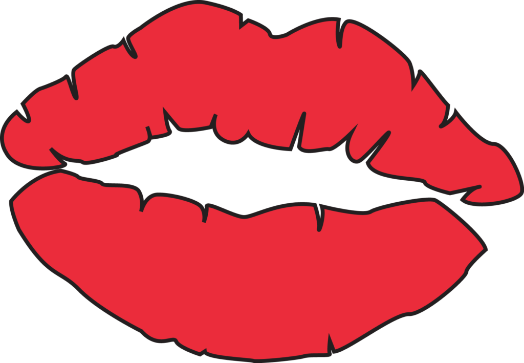 Kissing pages. Lips clipart coloring page