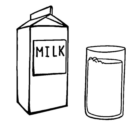 A carton glass of. Milk clipart black and white
