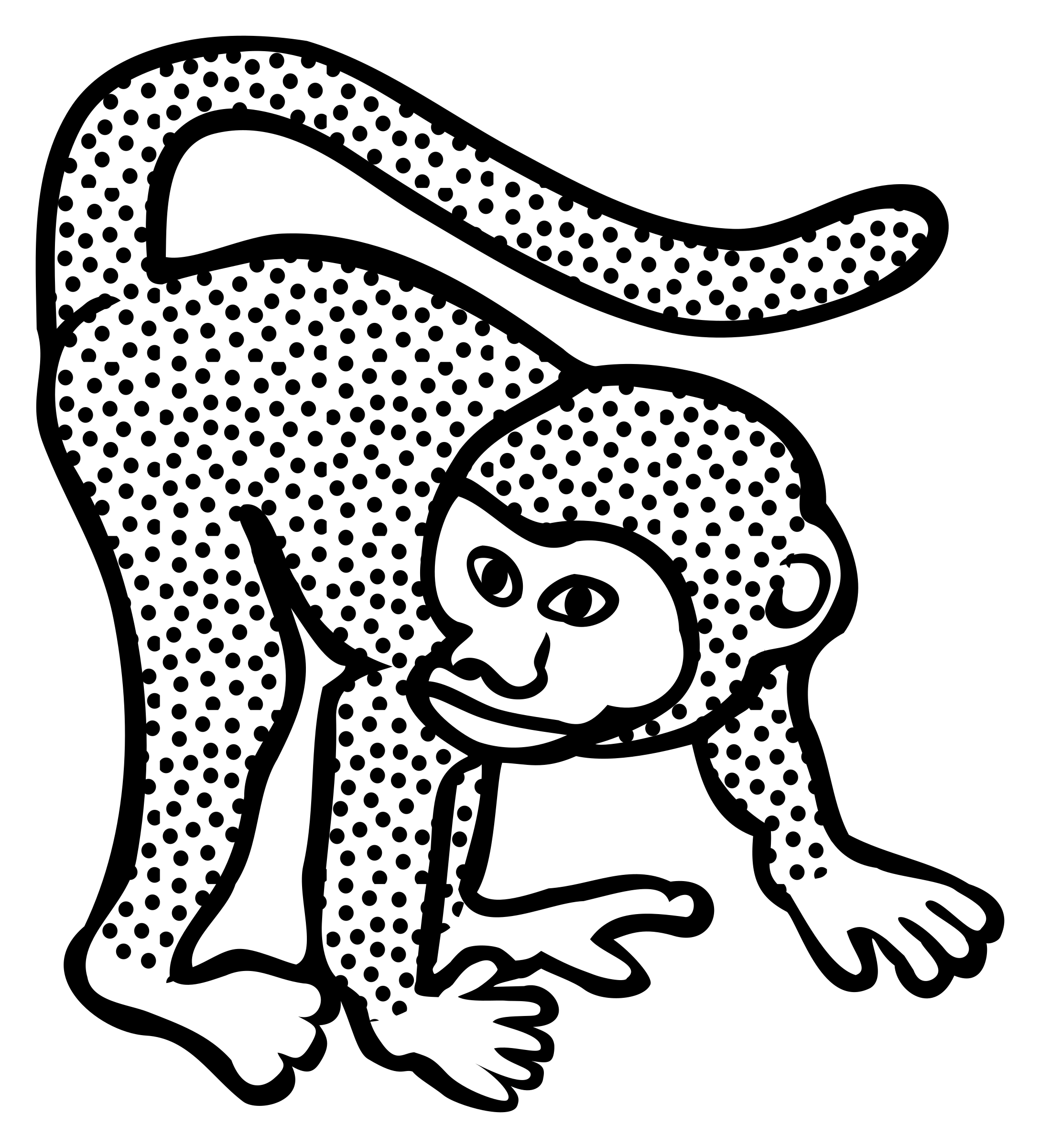Lineart big image png. Coloring clipart monkey