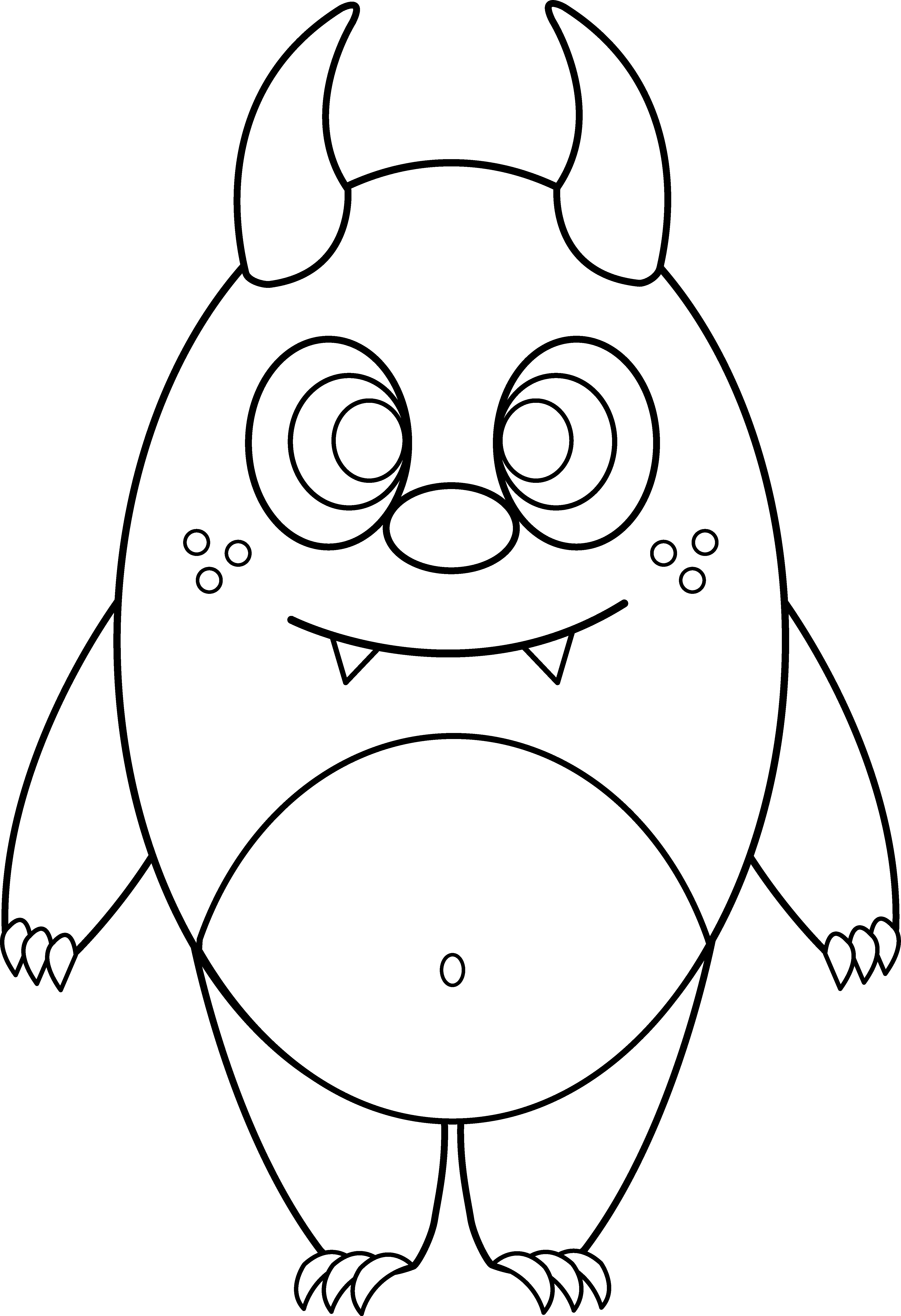 Confused clipart sketch. Silly little monster coloring