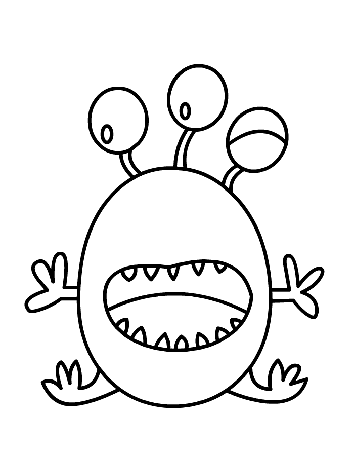 Monster coloring kal pl. Door clipart colouring page