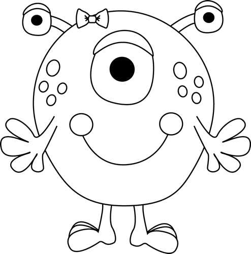 Girl education . Monster clipart black and white