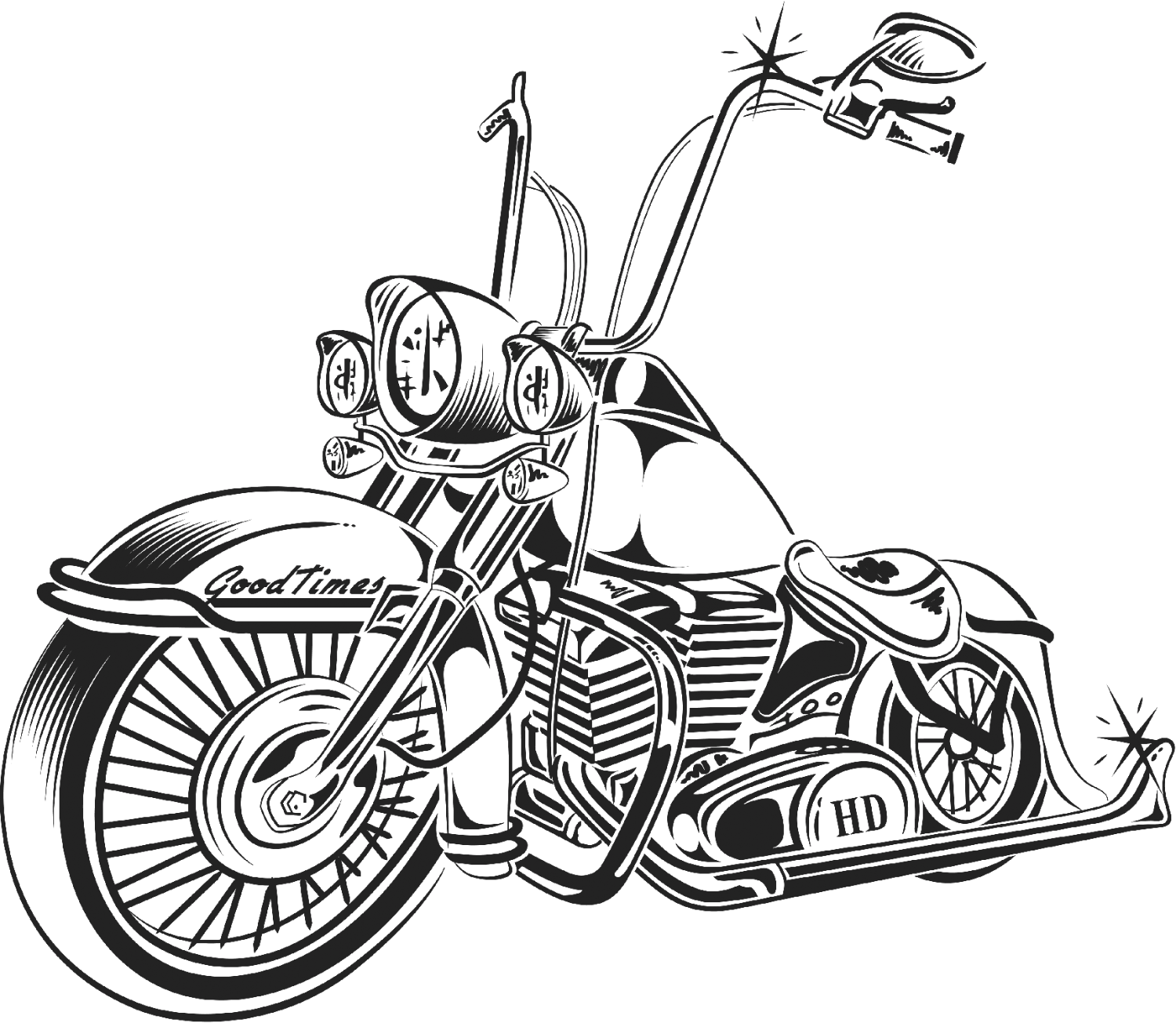 Flames clipart motorcycle. Chopper drawing at getdrawings