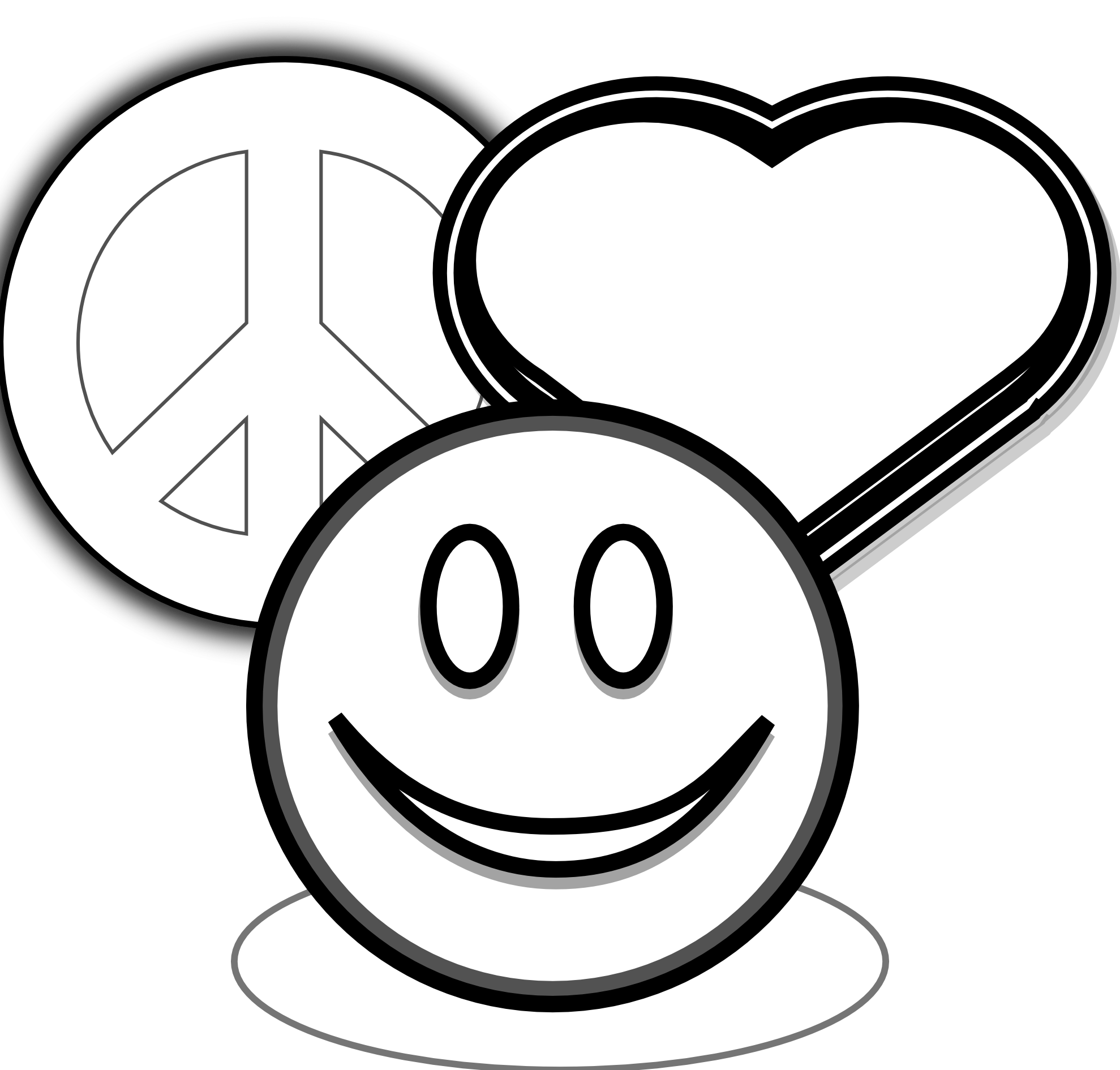 White clipart love. Coloring pages of peace