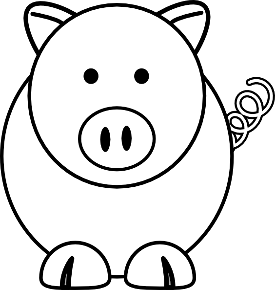 White cartoon clip art. Coloring clipart pig