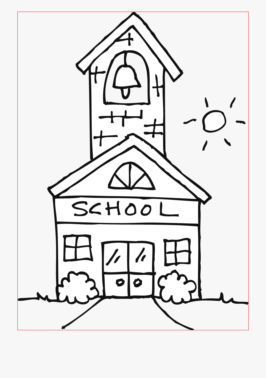 Cute schoolhouse page free. Coloring clipart school