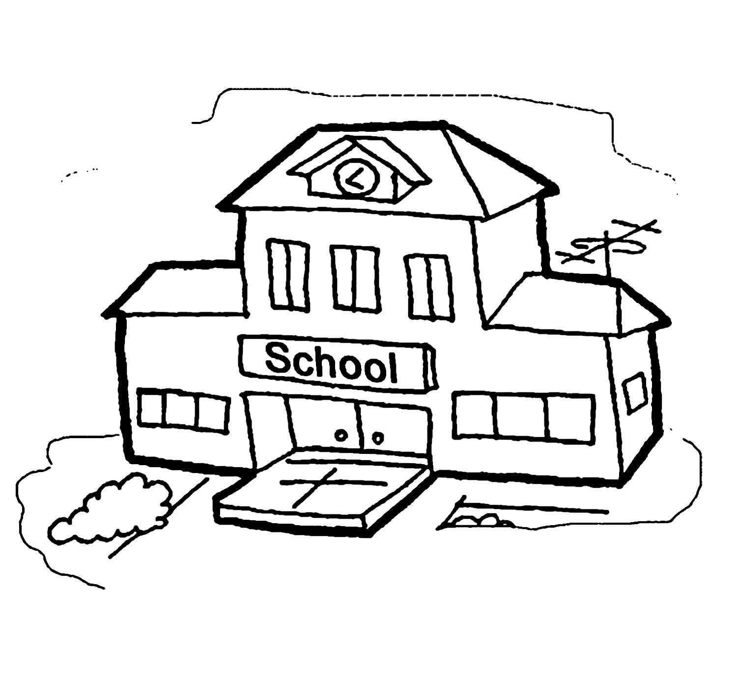 Coloring clipart school. Free printable building cergly